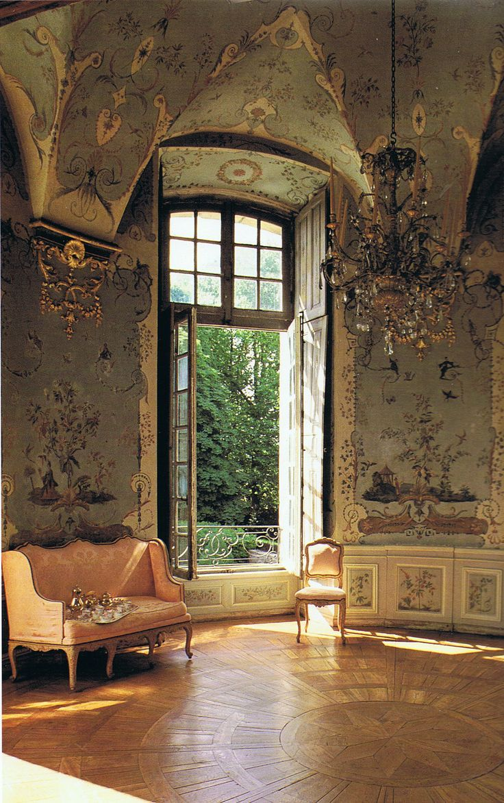 Exquisite 18th c. French painted chinoiserie wall murals by master painter Jean-Baptiste Pillement, 1728-1808. This is the stunning Pillement Tower at Château d'Haroué in the Lorraine region of Northeast France. The chateau is lovingly cared for by the descendants of the original owners, Princess Minnie de Beauvau-Craon. Built by the important architect Germain Boffrand, whom is best known for his last rococo masterpiece, the interiors of the stunning Hotel de Soubise. Hotel de Soubise was…
