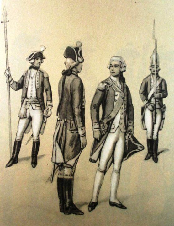2 Foot Regiment of the Grand Duchy of Lithuania. From left to right: junior officer, non-commissioned officer, chief of the regiment, grenadier leibcompany. Fig. B. Gembarzewski.