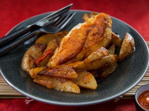Recette Poulet rôti façon Macao, pommes de terre rôties, notre recette Poulet rôti façon Macao, pommes de terre rôties - aufeminin.com