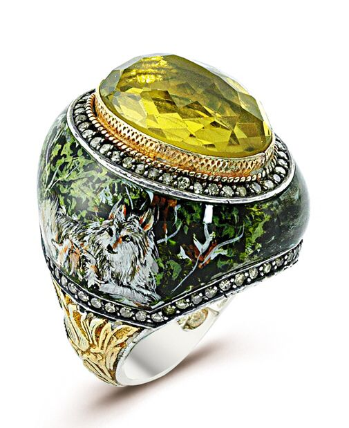 "It's an ""ART IS IT"" collection which is Hand painted and ottoman style carving on outskirts of ""GREY WOLF"" (founded in northern hemisphere) ring with 24k Goldleaf /925, beautiful Golden Quartz stone & S. Cut diamonds. So why not WEAR YOUR ARTS !!!!!"
