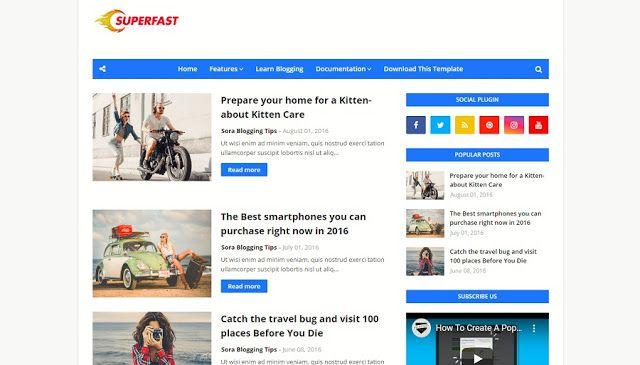 Superfast Adalah Template Blogger Pemuatan Cepat Yang Dirancang Luar Biasa Responsif Tema Blogger S In 2020 Blogger Templates Free Blogger Templates Blogspot Template