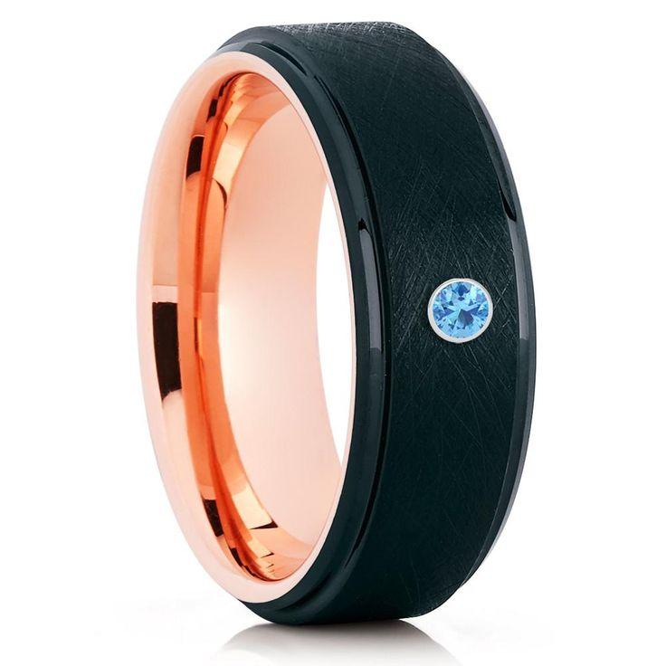 Brush Black <b>Tungsten Ring</b> - Rose Gold <b>Tungsten</b> Band - <b>Tungsten</b> ...