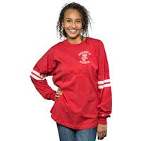 UW Bookstore – League Women's Ra Ra Striped Sleeve Long Sleeve (Red)