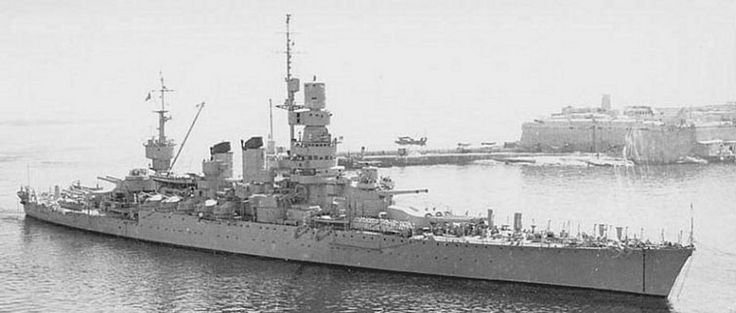 Italian 12.8 in battleship Andrea Doria arriving to surrender at Malta in September 1943: she originated as a WW1 dreadnought but was completely updated in the 1930s.  The Italians were permitted to keep her after WW2 (unlike the surviving pair of the modern Littorio class), and she served on as a training unit till the early 1950s.