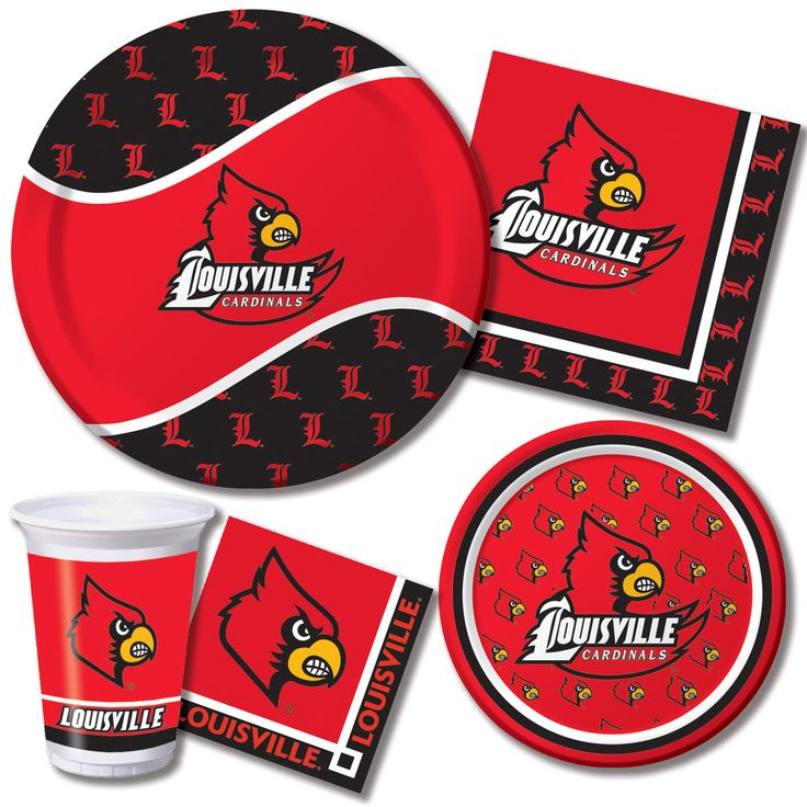 University of Louisville Party Tableware Celebrate the Cards! Louisville Cardinals Party Supplies include themed tableware. http://www.ktpartysupply.com/collections/university-of-louisville-college-party-supplies