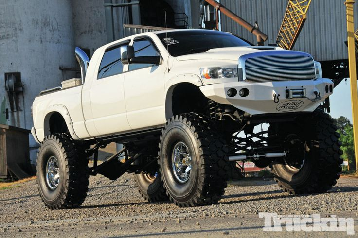 Jacked Up Chevy Truck with Stacks
