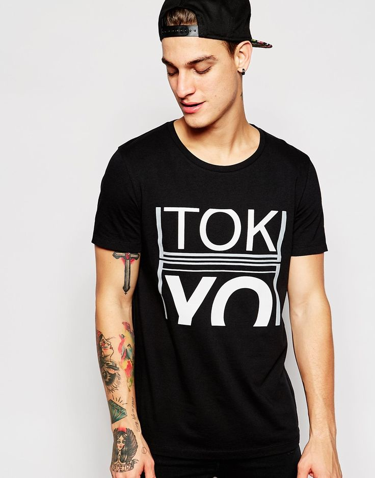 Image 1 of ASOS T-Shirt With Crew Neck And Typographic Print