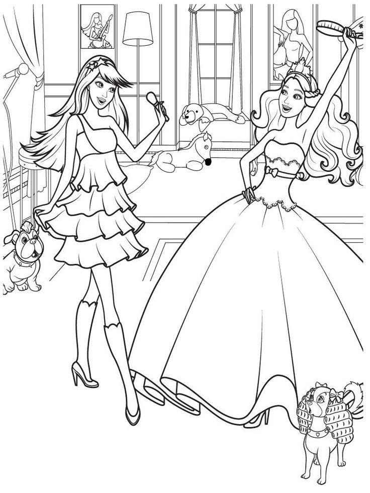 Barbie Fairy Tales Coloring Pages For Kids Printable
