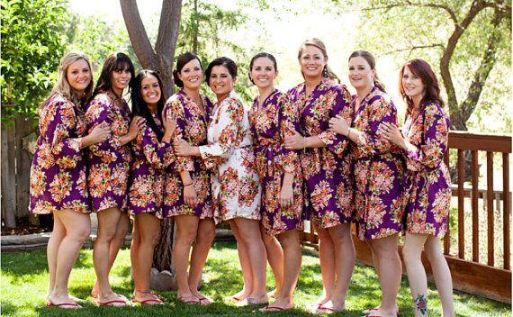 Purple Bridesmaids Robes Sets Perfect bridesmaids by silkandmore