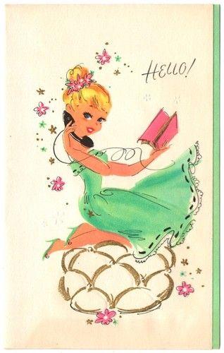 Vintage Greeting Card Hello Telephone Girl