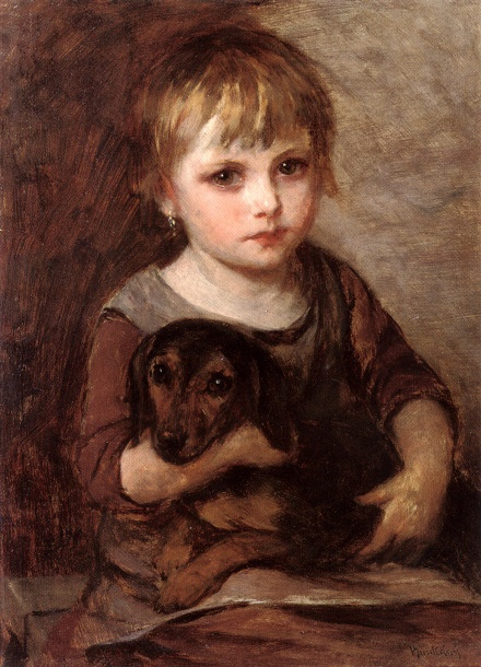 Mihaly Munkacsy, Young Girl And Her Dachshund.