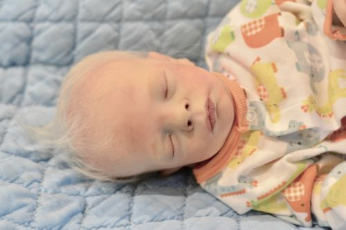 Reborn Sleeping LEIF Baby Boy Doll Preemie with Blonde Wispy Hair