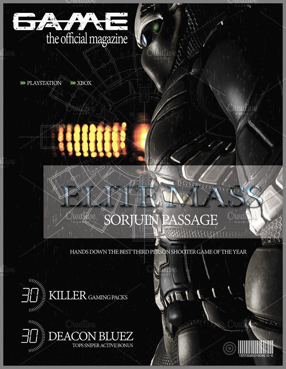 Gaming Magazine Cover by Green-Fly Media on @creativemarket