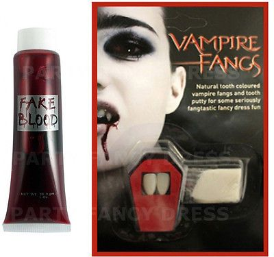 VAMPIRE FANGS CAPS TEETH ADHESIVE DRACULA FANCY DRESS FAKE BLOOD HALLOWEEN