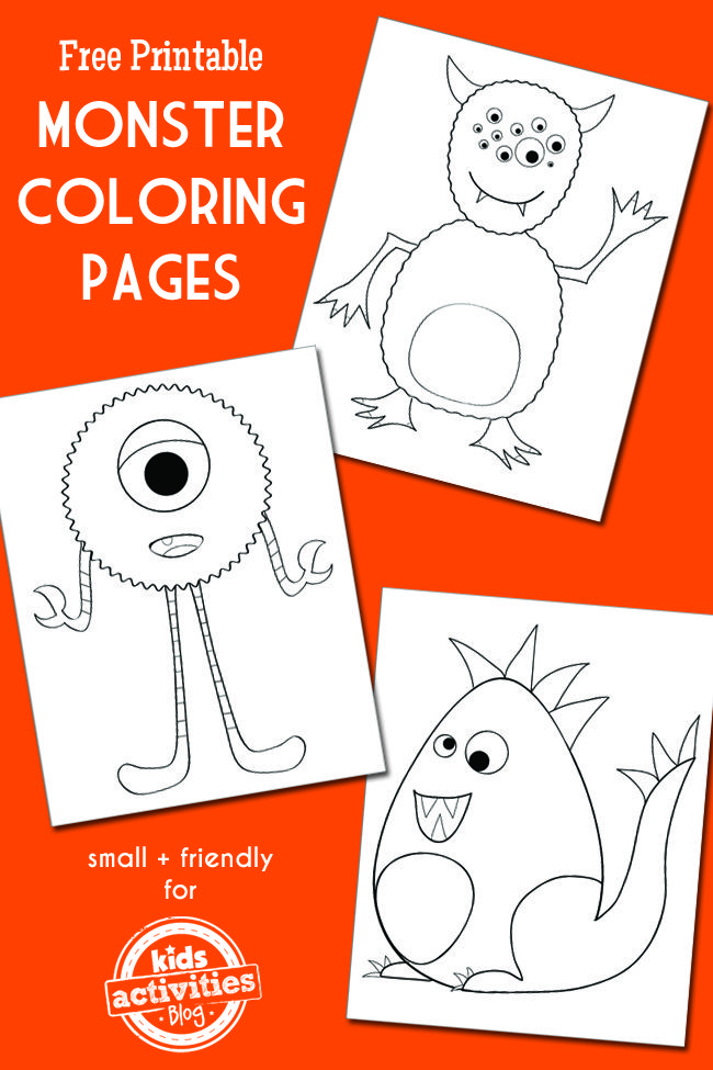 Free printable monster coloring pages from Kids Activities Blog