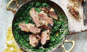Vivek Singh's mace and cardamom grilled lamb with nutmeg saag