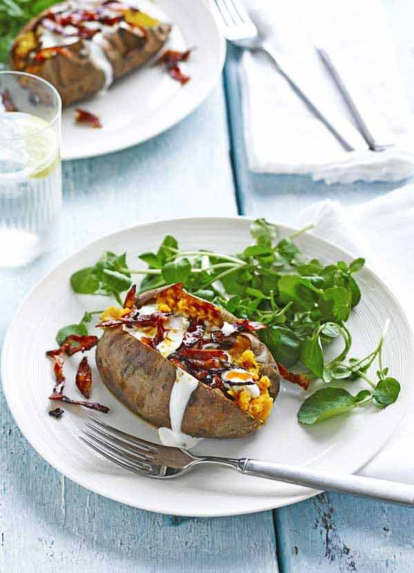 Baked sweet potatoes with feta cream and crisp chorizo. Some nights, only a baked potato will do. Why not make it a bit more special with this recipe for baked sweet potatoes with feta cream and crisp chorizo? Ultimate comfort food.