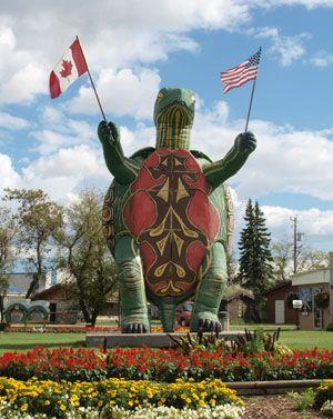 Turtle Statue - Visitors - Boissevain, Manitoba, Canada.  Tommy the Turtle!  #GIlovemanitoba