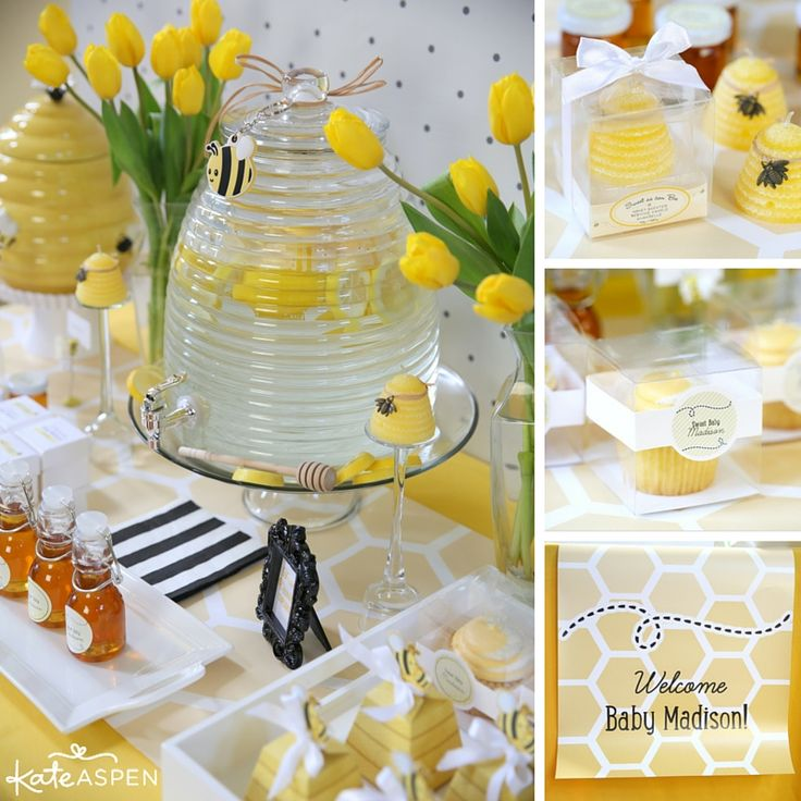 """This gender reveal party idea is sweet as can bee! A sunny yellow """"what will it bee"""" gender reveal party is sure to bring smiles to everyone's faces. 