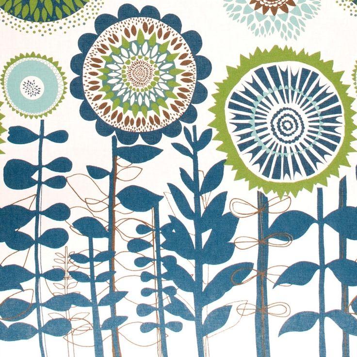 Scandinavian Solros Fabric - Big Flowers by Spira ...