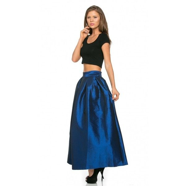High Waist Taffeta Maxi Skirt in Navy Blue ($30) ❤ liked on ...