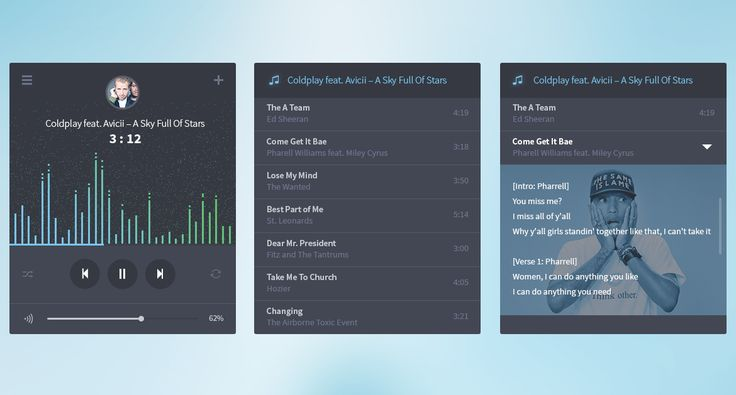 Audio player screens