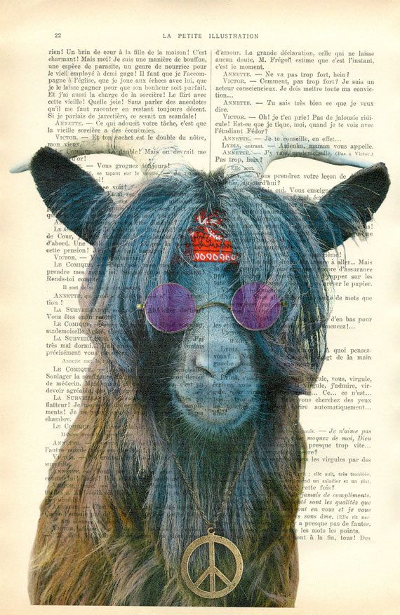 Goat Goat Art Hipster print farm animal art by MadameMemento
