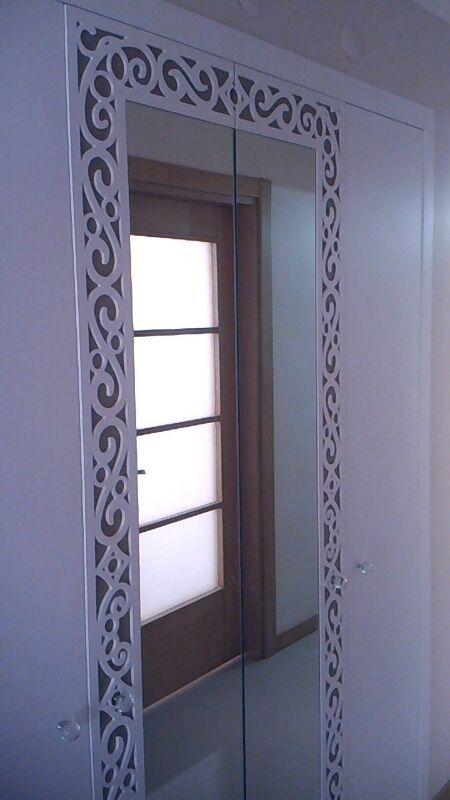 The door of wardrobe/Aynalı Giysi Dolabı Süsleme