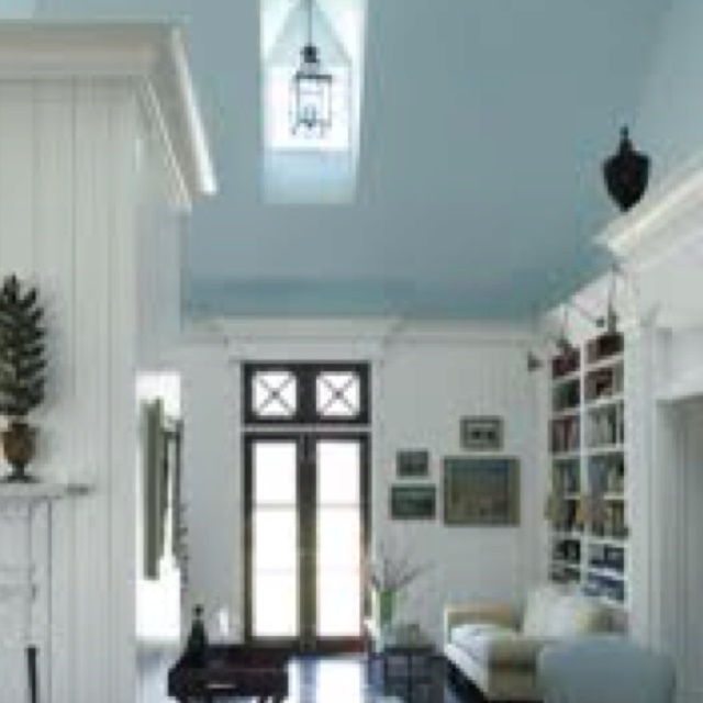 In love with blue porch ceilings and now the idea of bringing the blue sky indoors. Gorgeous.
