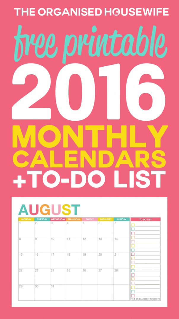 free 2016 monthly calendar printable 2