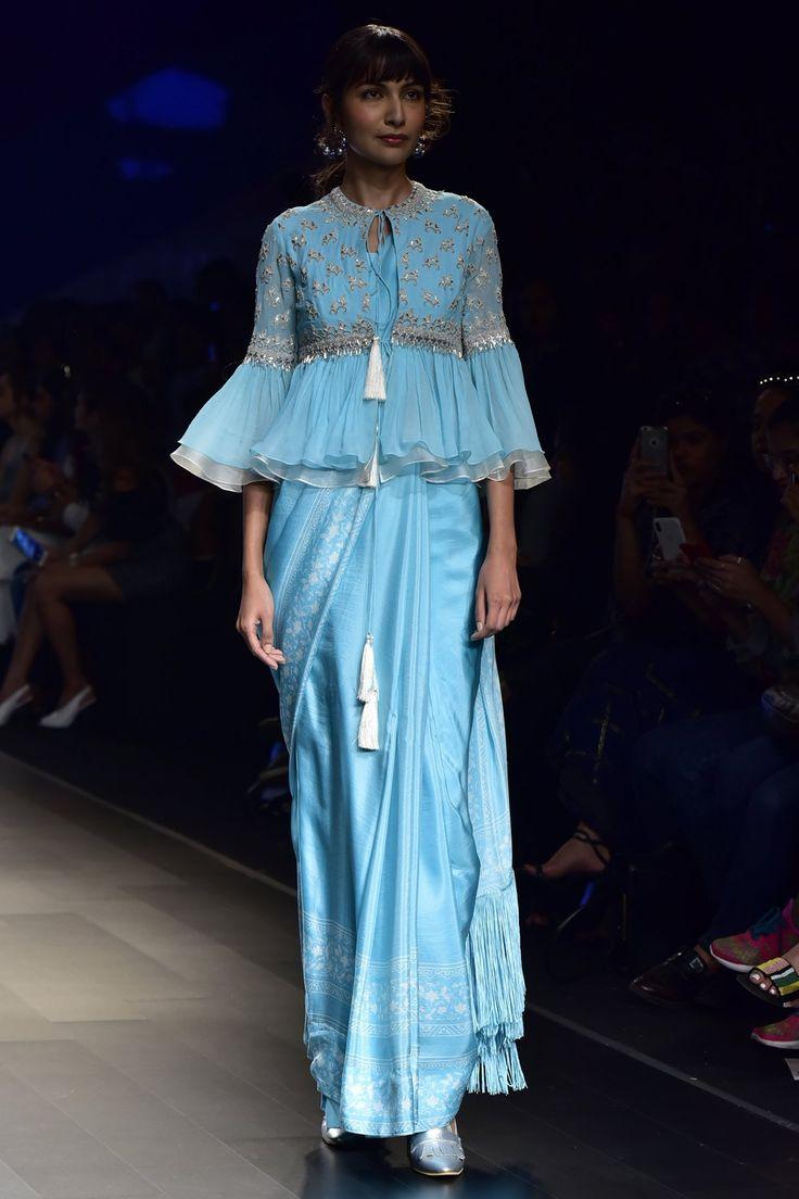 RIDHI MEHRA Aqua Printed Saree with Embroidered Blouse. Shop Now! #ridhimehra #aqua #printed #saree #blouse #chanderi #lfw18 #straightfromrunway #indianfashion #indiandesigners #perniaspopupshop #happy-shopping