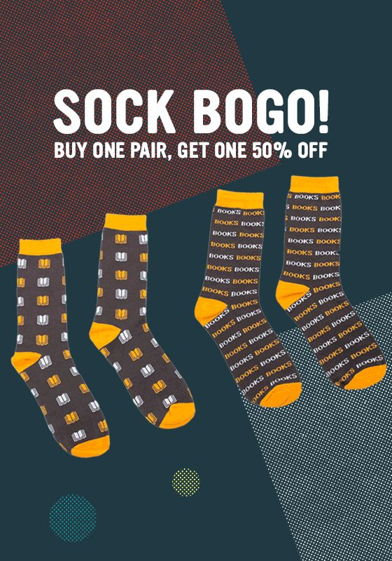Bookish socks are buy one, get one 50% off in the Book Riot Store through 1/16. Sweet!