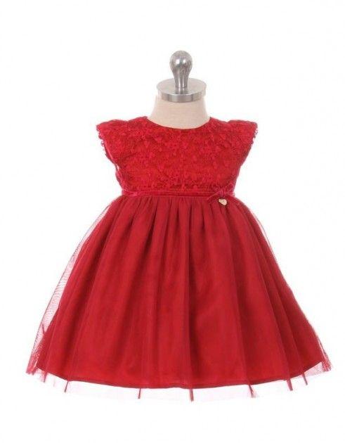 Rød tyllkjole med blondetopp til baby www.DressMyKid.no