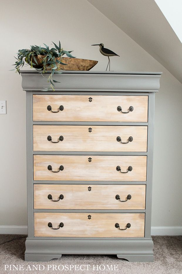 Painted Dresser With Raw Wood Drawers, Painted Wood Furniture