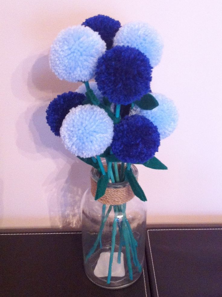 Blue pompom flowers in glass jar https://www.facebook.com/AndiesAccessories/photos/a.1075552895804758.1073741886.251860708173985/1087317444628303/?type=3&theater