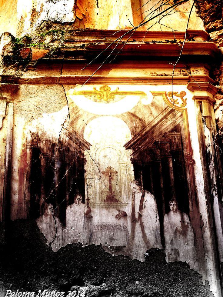 Muro pintado en las ruinas del Monasterio de Piedra. Wall painting in the ruins…