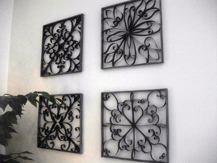 Looks like wrought iron, but made with toilet paper rolls.