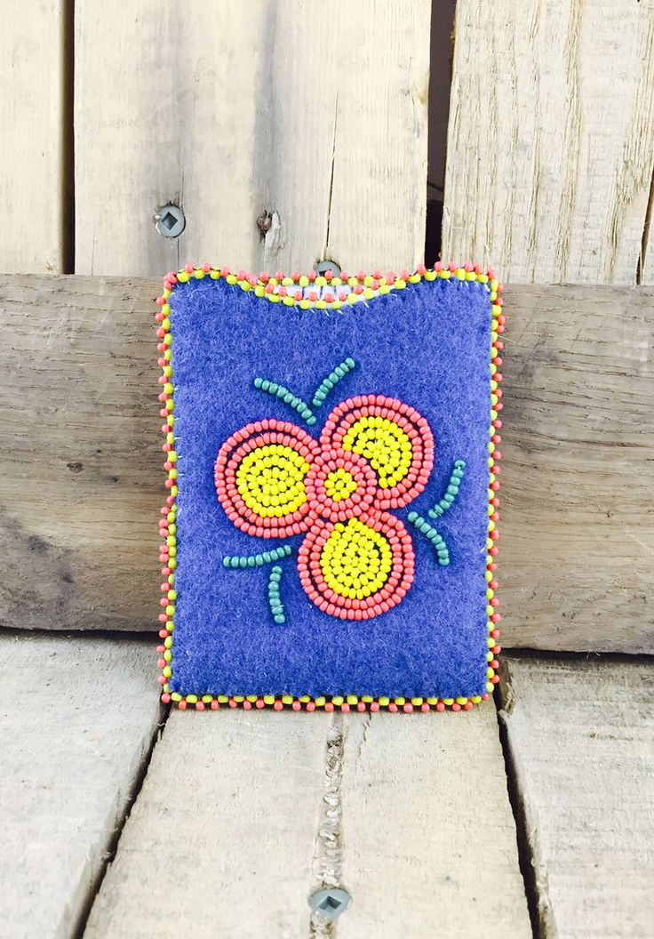 Cardholder with blue stroud and red and yellow flower beadwork #Esawa #Cardholder #Handmade #Bluestroud