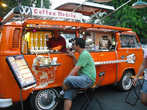 Coffee on the go from a VW Bus