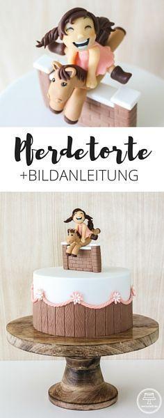 Motivtorte mit springendem Pferd und vergnügter Reiterin + Anleitung | horsecake + tutorial | www.vertortelt.de