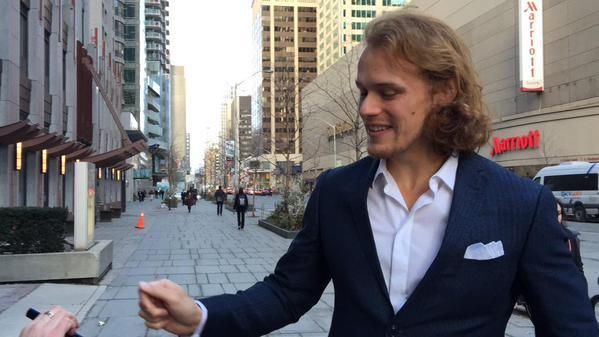 Sam came outside TV studio in Toronto, after an interview, to talk to fans who were watching him through the window during the interview.