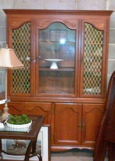 NewLife Decor And More : Tutorial Upcycle A Vintage Buffet And Hutch Into  R. WOman Put Wire Mesh For Glass Panels And Gave Tutorial How To