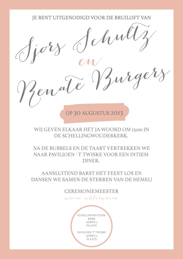 Uitnodiging bruiloft Blush