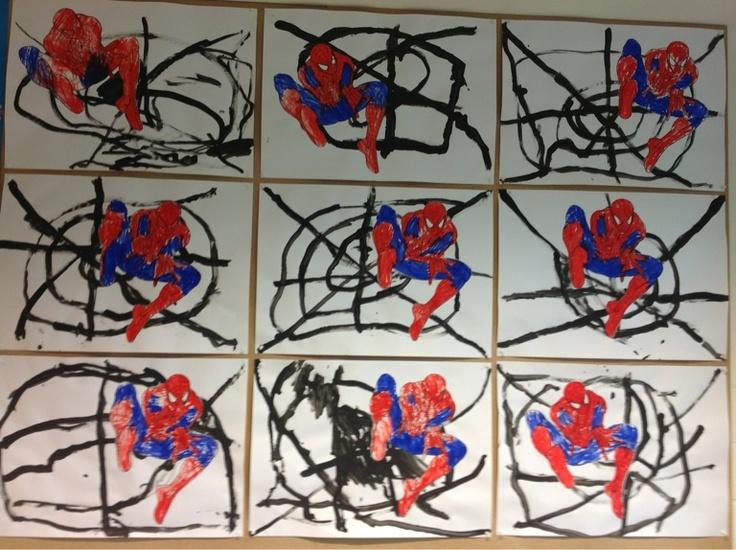 Superhelden: spinnenwebben schilderen en Spiderman kleuren volgens voorbeeld.