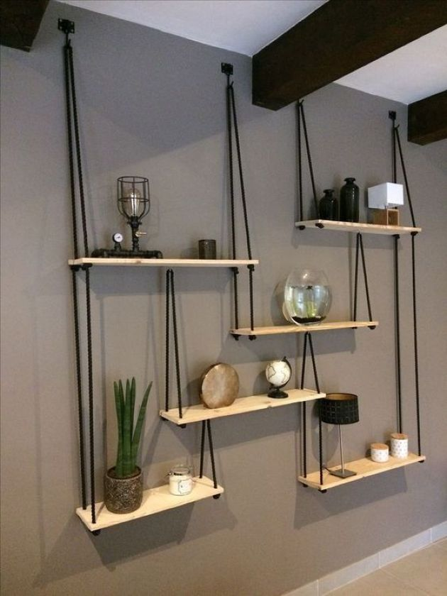 Hanging Shelving Unit With Several Shelves And Black Ropes Diy