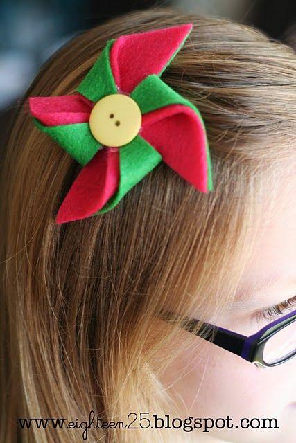 Pasadores de fieltro Pinwheel felt hair clip