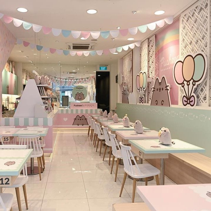 The First Every Pop Up Pusheen X Kumoya Cafe In Singapore How Cute Cafe Interior Design Bakery Design Interior Coffee Shop Design