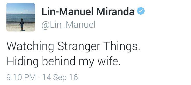 Lin-Manuel Miranda has a hard time with scary things - aka Stranger Things