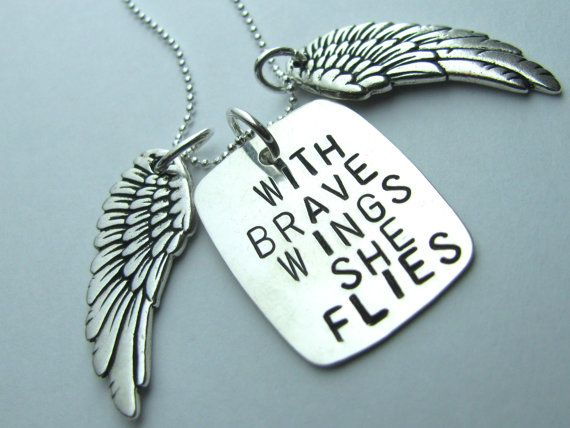 With Brave Wings She Flies Hand Stamped Sterling by hsdesign11, $45.00