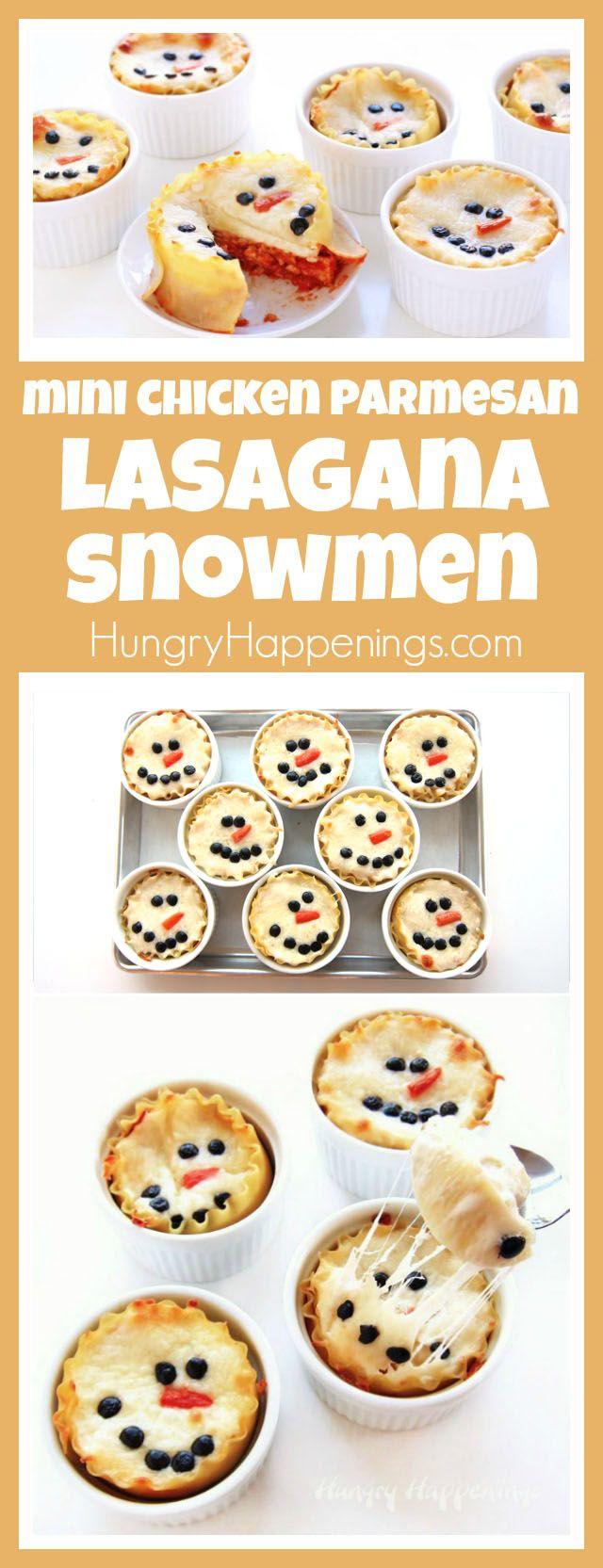 Diese niedlichen Mini-Huhn Parmesan Lasagna Schneemann wärmt Ihr Herz und halten Sie Ihren Bauch voll in diesem Winter.  Jede einzelne Portionsgröße Mahlzeit wird eine festliche Note zu Ihrer Weihnachtsfeier hinzuzufügen.